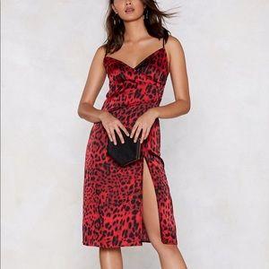 ✨NASTY GAL✨ - Red Leopard Midi Dress